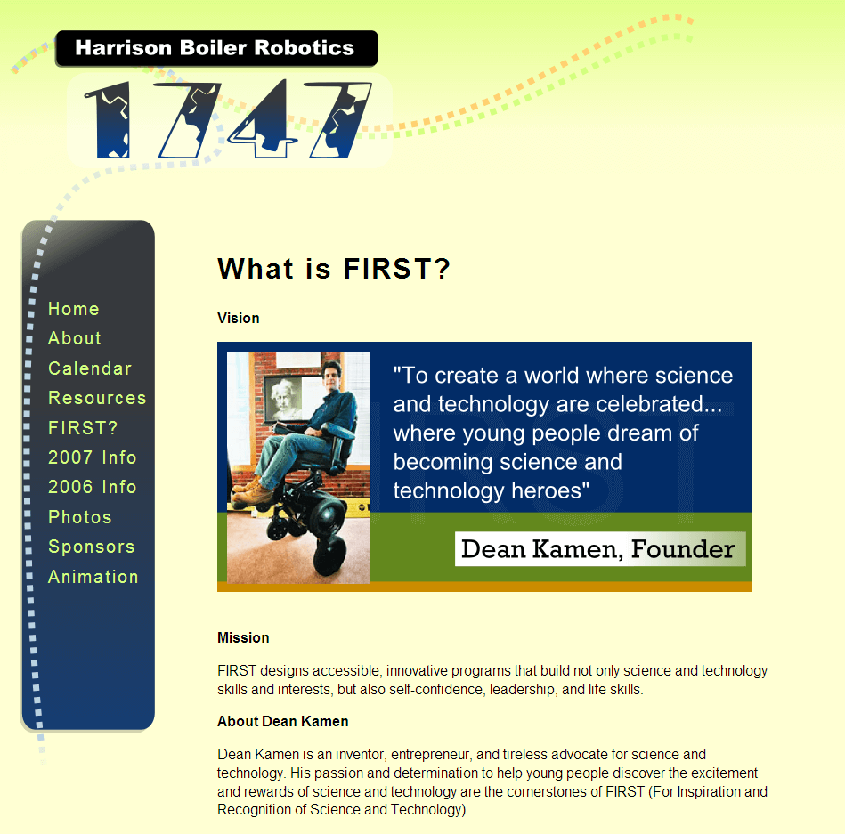 Screenshot of Robotics Homepage